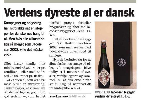 Verdens dyrest øl er dansk